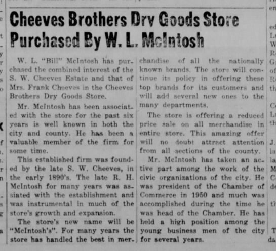Sale of Cheeves store in Cameron, TX, 1951. -