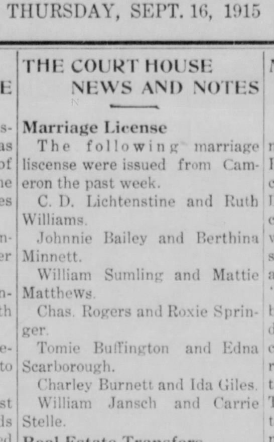 Tomie Buffington And Edna Scarborough marriage -