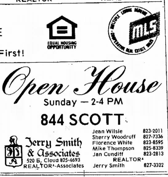 844 Scott,seller Jean Wilsie Feb 1977 - First! on Sunday --2-4 PM 844 SCOTT Smttf)...