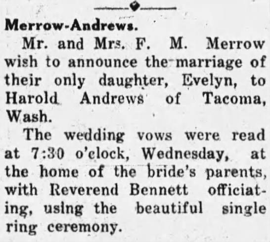 Harold Andrews and Evelyn Merrow Wed At Home of Bride -