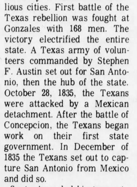 First Battle of the Revolution fought at Gonzales -