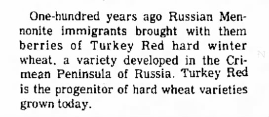 Russian Mennonites bring Turkey Red hard winter wheat to Kansas -