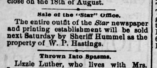 Harrisburg Telegraph, July 23, 1887, p. 6 -