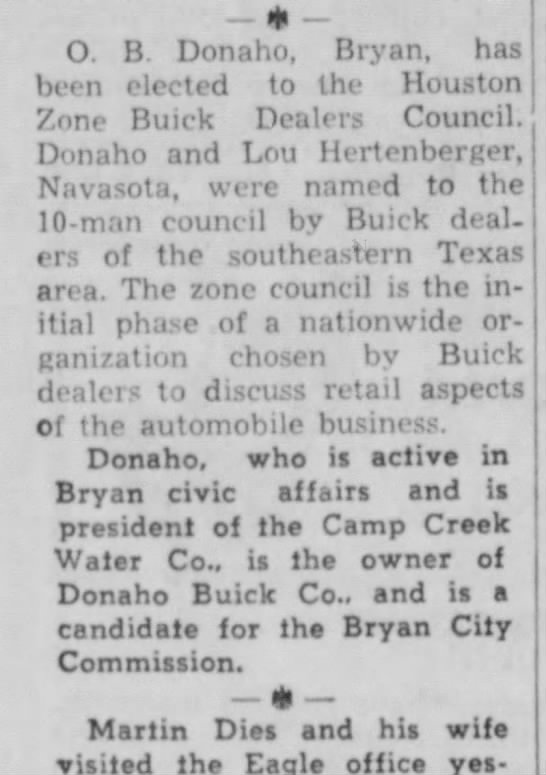 OBD named to Buick zone council 12 March 1957 - 4, _ O. B Donaho, Bryan, has been elected to...