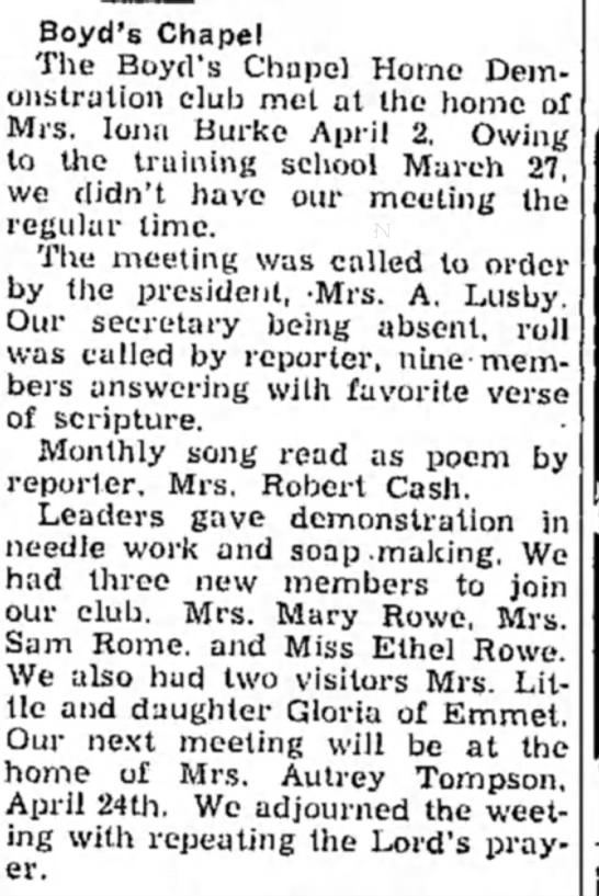 Church Event Mrs Mary Rowe -