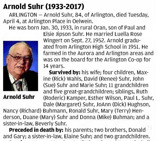 Arnold Suhr obituary -