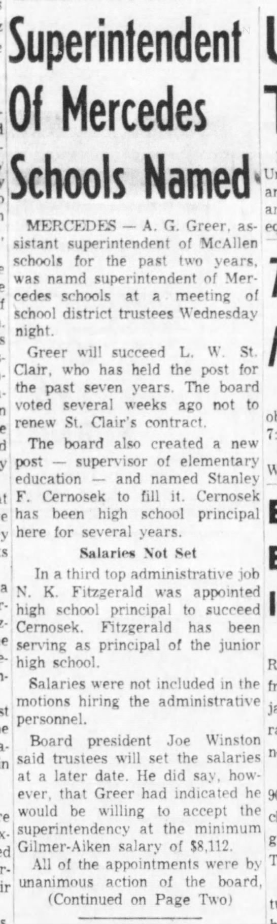 Superintendent Greer Named - Valley Morning Star May 15 1958 -