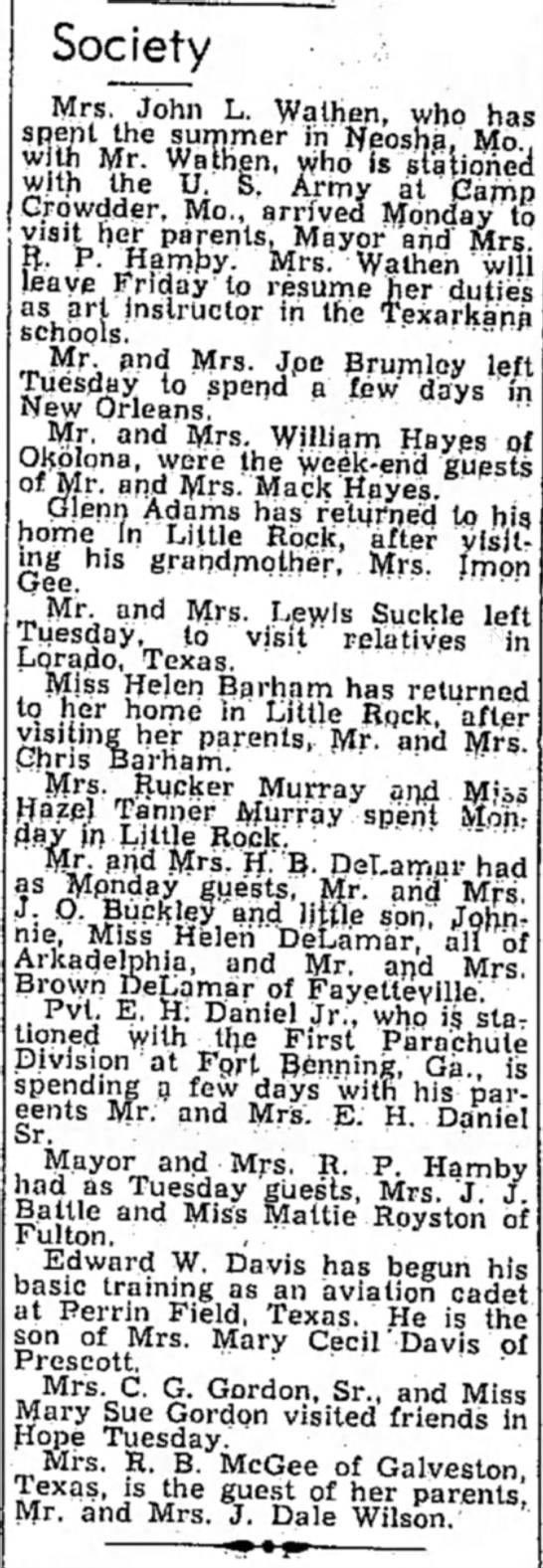 E. H. Daniel Hope Star 2 Sep 1942 - Society Mrs. John L. Wathen, who has s ^ff^i he...