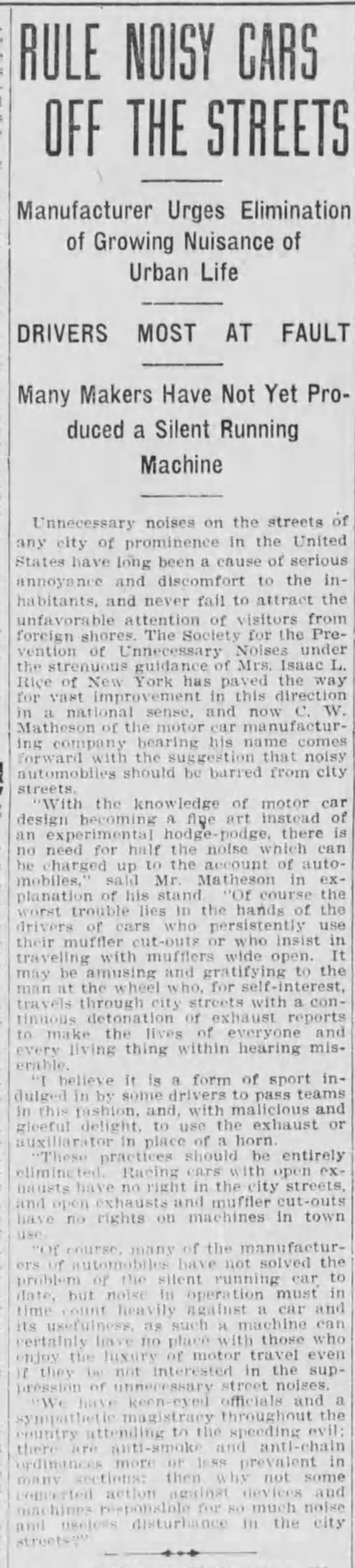 C. W. Matheson - j RULE NOISY CARS OFF THE STREETS Manufacturer...