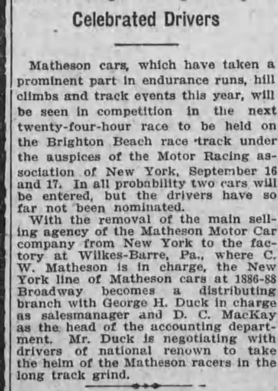 C. W. Matheson - Celebrated Drivers Matheson cars, which have...
