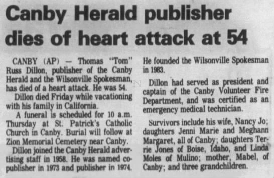 Canby Herald publisher dies of heart attack at 54 -