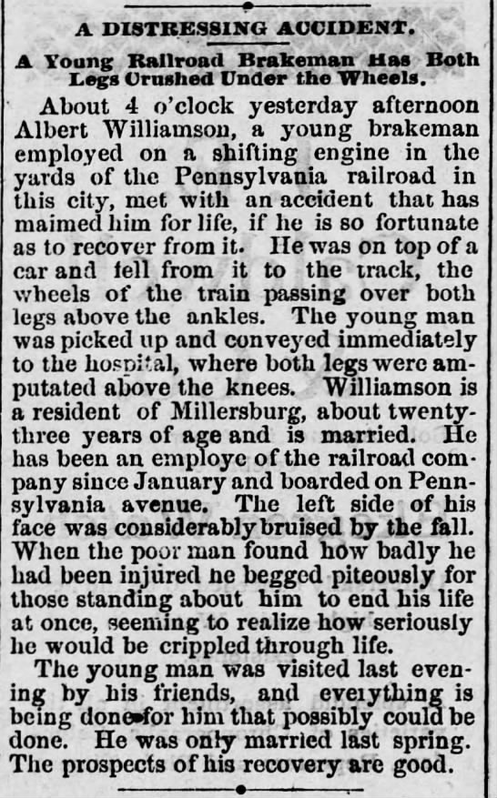 Millersburg man badly injured. 1884 -