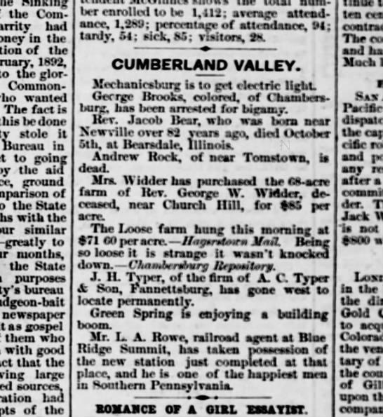 1891 October 22 Harrisburg Telegraph Andrew Rock of Tomstown -
