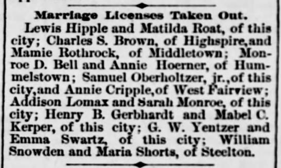 Annie Hoerner & Monroe Bell, marriage license  -