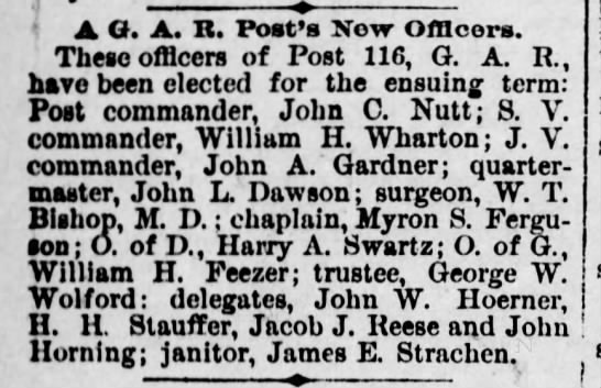 John W Hoerner, GAR - y i A O. A. It. Post's New Officers. These...