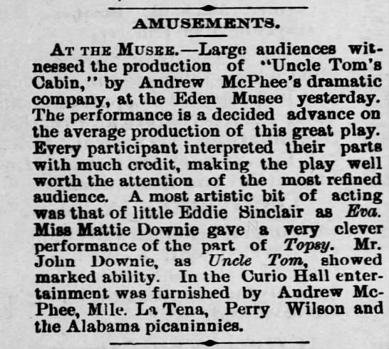 Andrew Downie  5-15-1894 - AMUSEMKNT8. At the Musbb. Large audiences wit...