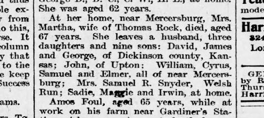 1899 October 17 Harrisburg Telegraph Martha Rock -