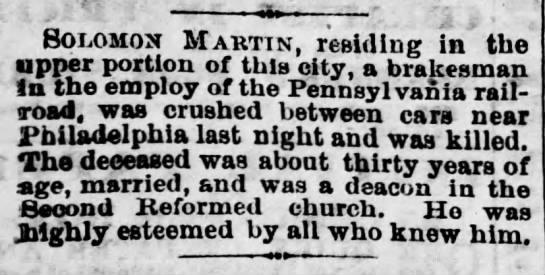 Solomon Martin dead RR accident - Harrisburg Telegraph - April 5 1873 -