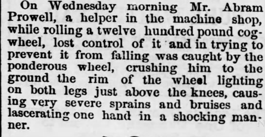abram prowell accident 1879 -