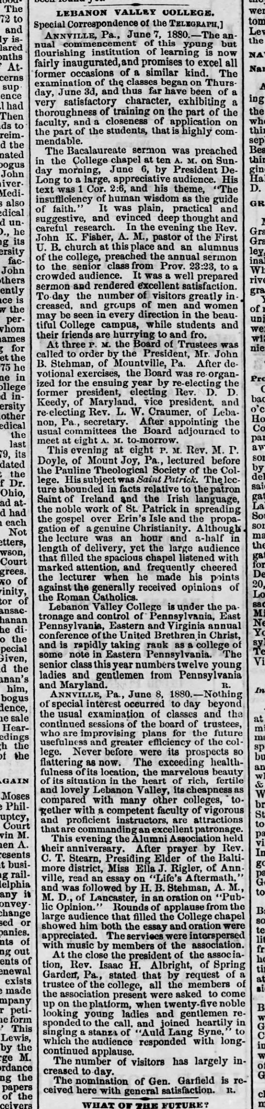 1880 June 10 LVC Commencement/Baccalaureate -