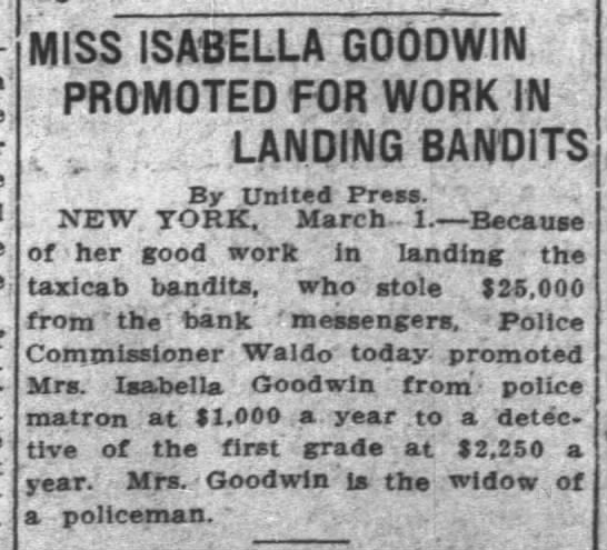 """Isabella Goodwin Promoted for Work in Landing Bandits"" 1912 -"