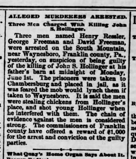 Thursday, June 18, 1885 Harrisburg Telegraph -