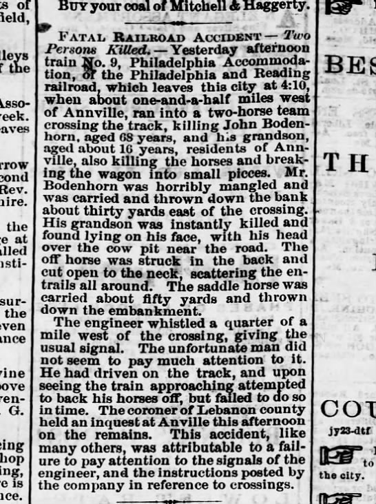 1870 September 10 Death of John Bodenhorn and grandson of Annville RR Accident -