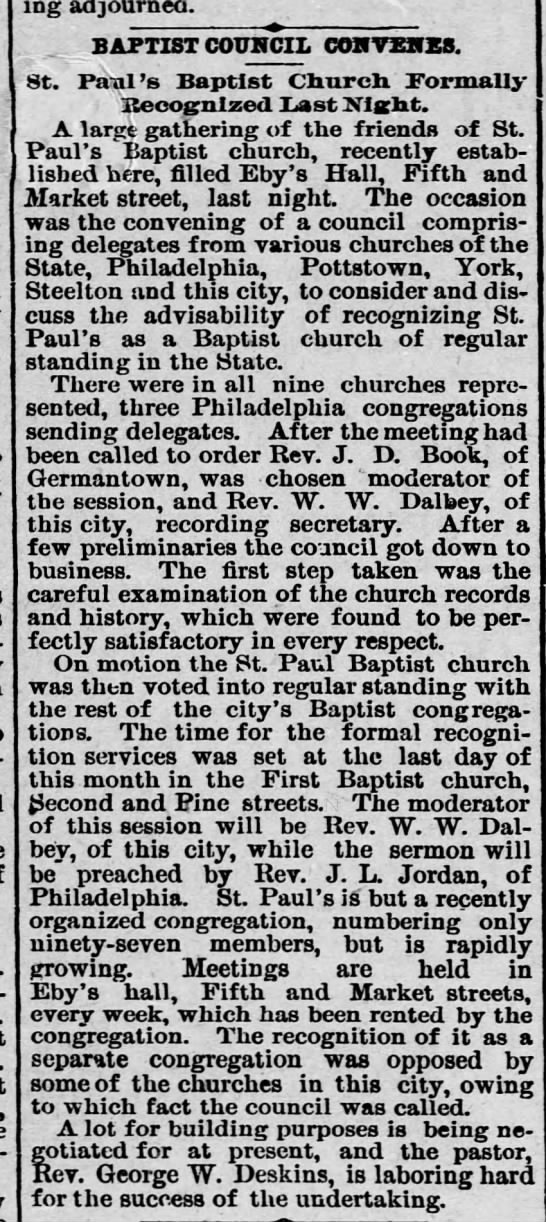 St Paul Church recognized 20 July 1892 -