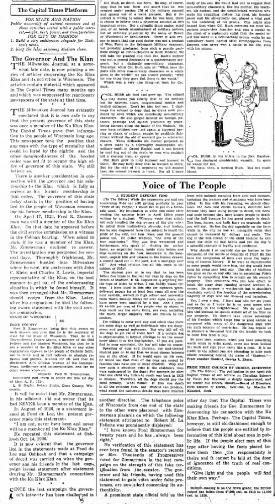 Article - Wisconsin Governor and the Ku Klux Klan -