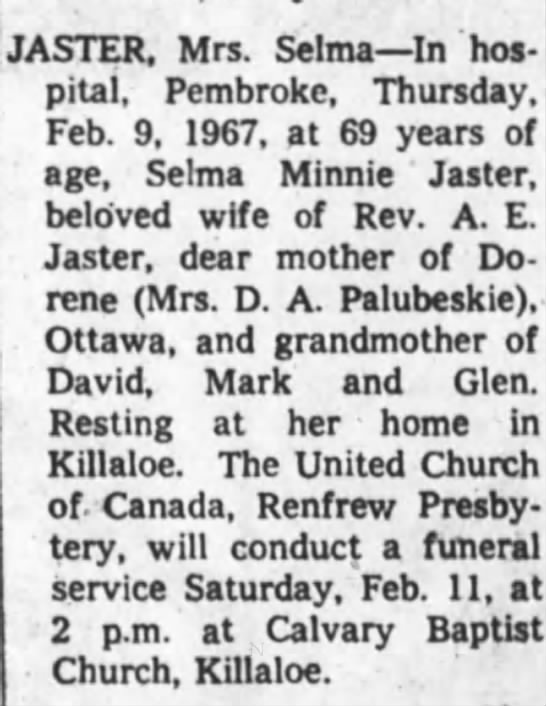 Obituary - Selma Minnie Jaster nee Kuehl -
