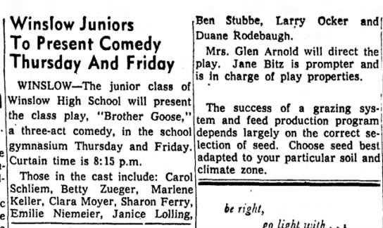 Freeport Journal-Standard, 29 October 1956, Winslow Juniors To Present Comedy Thursday And Friday -