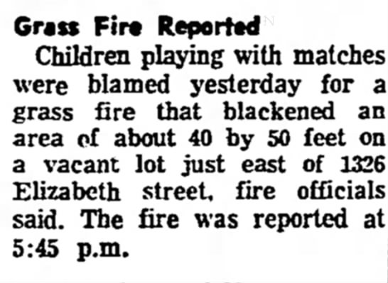 Redlands Daily Facts, 4 June 1968  Grass Fire 1326 Elizabeth Street, Redlands, CA -