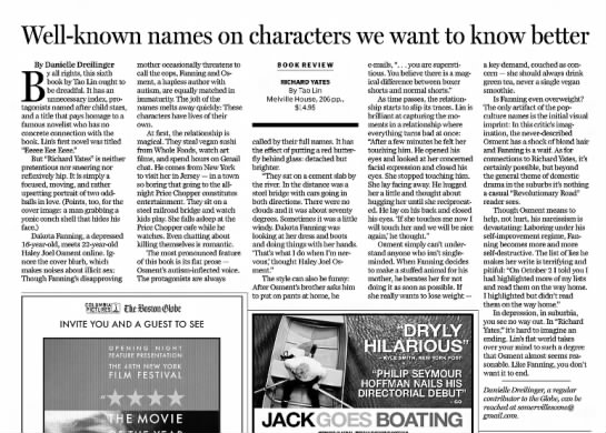 """""""Well-known names on characters we want to know better,"""" The Boston Globe, 25 Sep 2010, p. G8. -"""