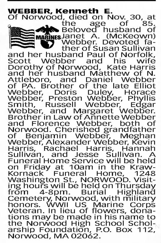 Obituary for Kenneth E. WEBBER -