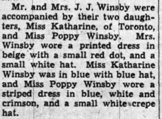 Mr & Mrs JJ Katherine & Poppy 5 Aug 1940 Ottawa -