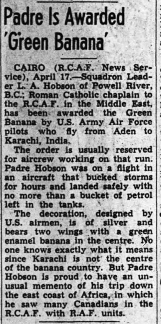 "Hobson's Green Banana - Padre Is Awarded CAIRO (R.CA ;F. "" News ""iSer..."