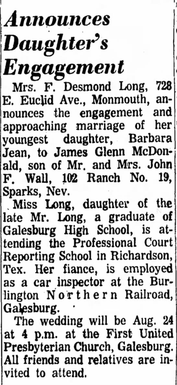 Barbara & Jim's Wedding Announcement -