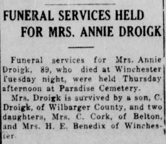 Mrs. C. Cork of Belton 1928 -