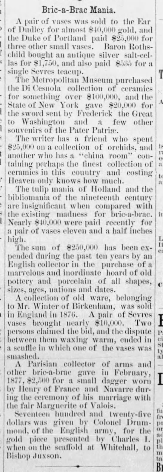 High prices being paid for bric-a-brac, 1887 -