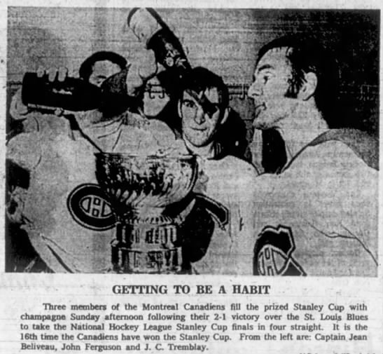 Canadiens hockey team players pour champagne into Stanley Cup following 2-1 victory in 1969 finals -
