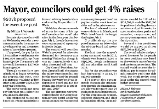 Mayor, councilors could get 4% raises -