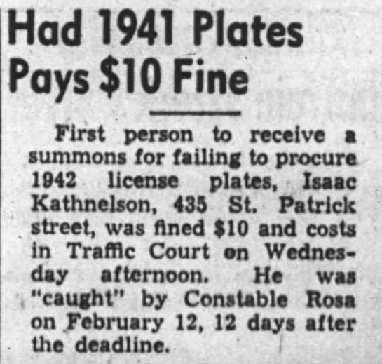 - Had! 941 Plates Pays $10 Fine First person to...