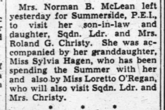Roland G. Christy - Mrs. Norman B. McLean left yesterday for...