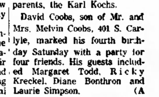 David's 4th birthdayMay 1963 -