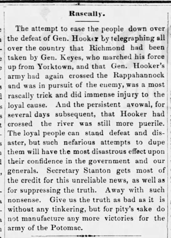 Northern newspaper editorial about the Union loss at Chancellorsville -