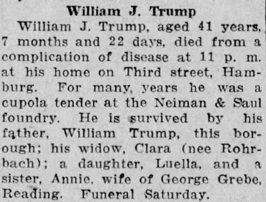 William J Trump - William J. Trnmp William J. Trump, aged 41...