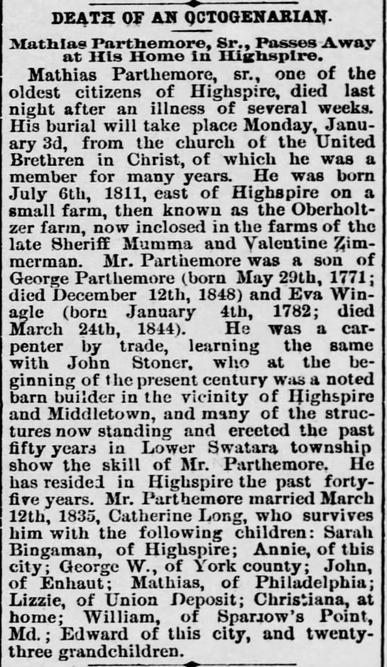 Mathias Parthemore Obit, 20Jan1893 -