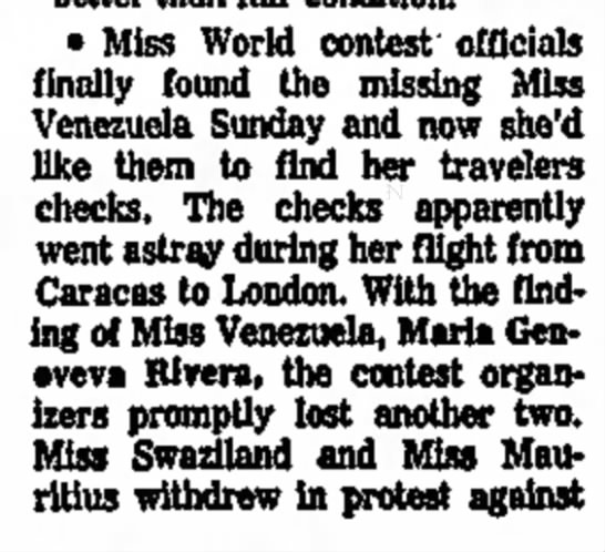 16_November_1976_The_Daily_Herald_Chicago, Illinois - · Miss World contest officials finally found...