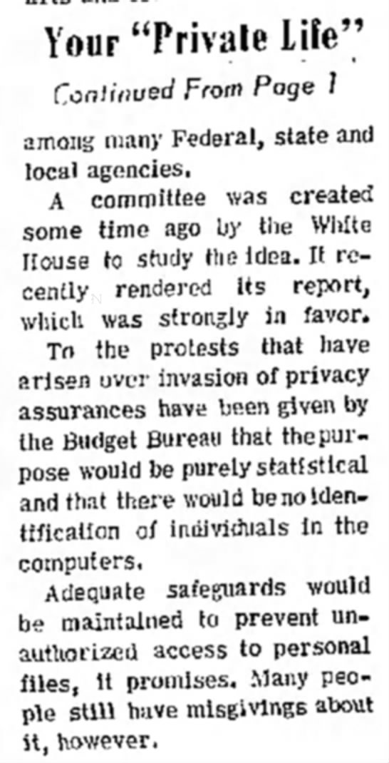 1967 privacy story, cont'd -