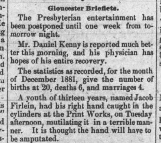 Jacob Firlein age 13, courier post 1/19/1882 -